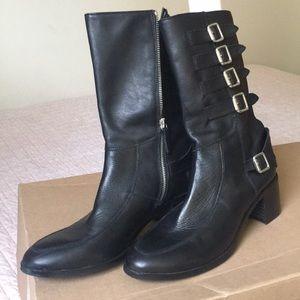 Biker-style High Heel Leather Boot